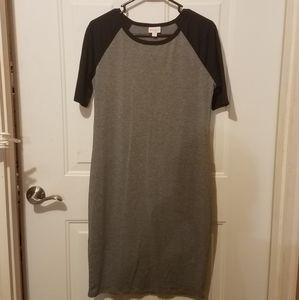 Lularoe medium gray and black Julia dress
